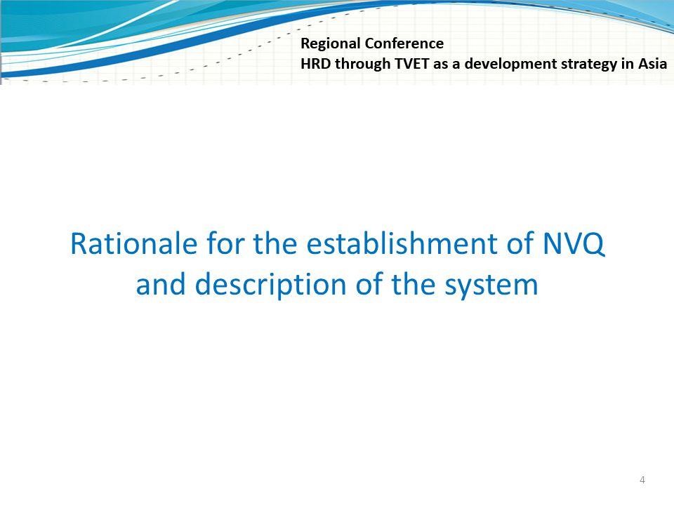 Rationale for the establishment of NVQ and description of the system 4