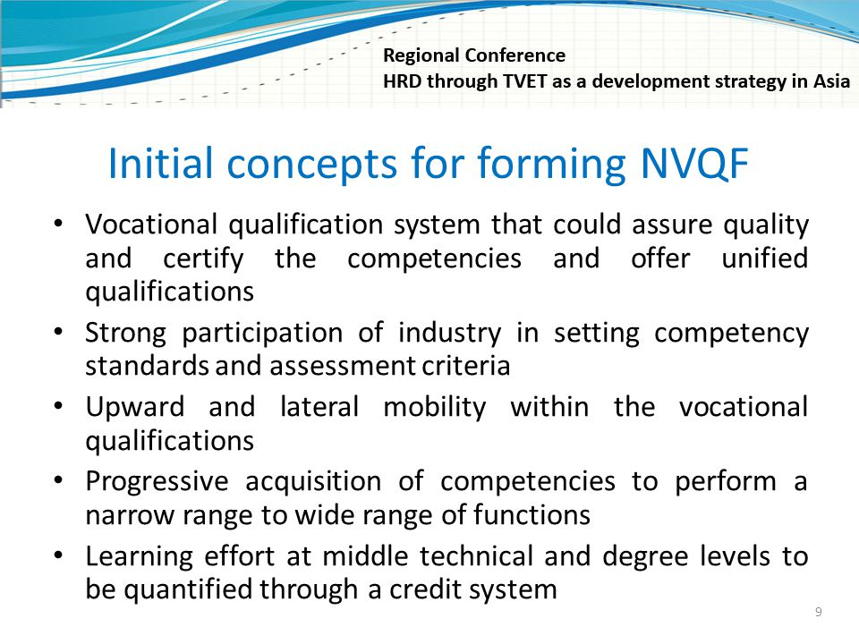 Initial concepts for forming NVQF Vocational qualification system that could assure quality and certify the competencies and offer unified qualificati