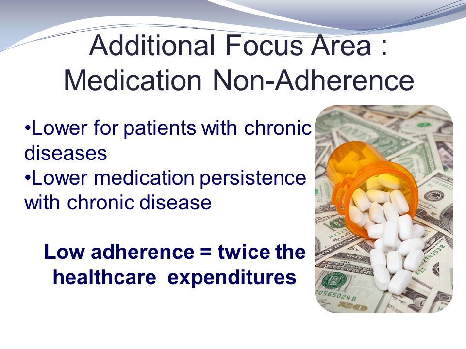 Additional Focus Area : Medication Non-Adherence Lower for patients with chronic diseases Lower medication persistence with chronic disease Low adhere