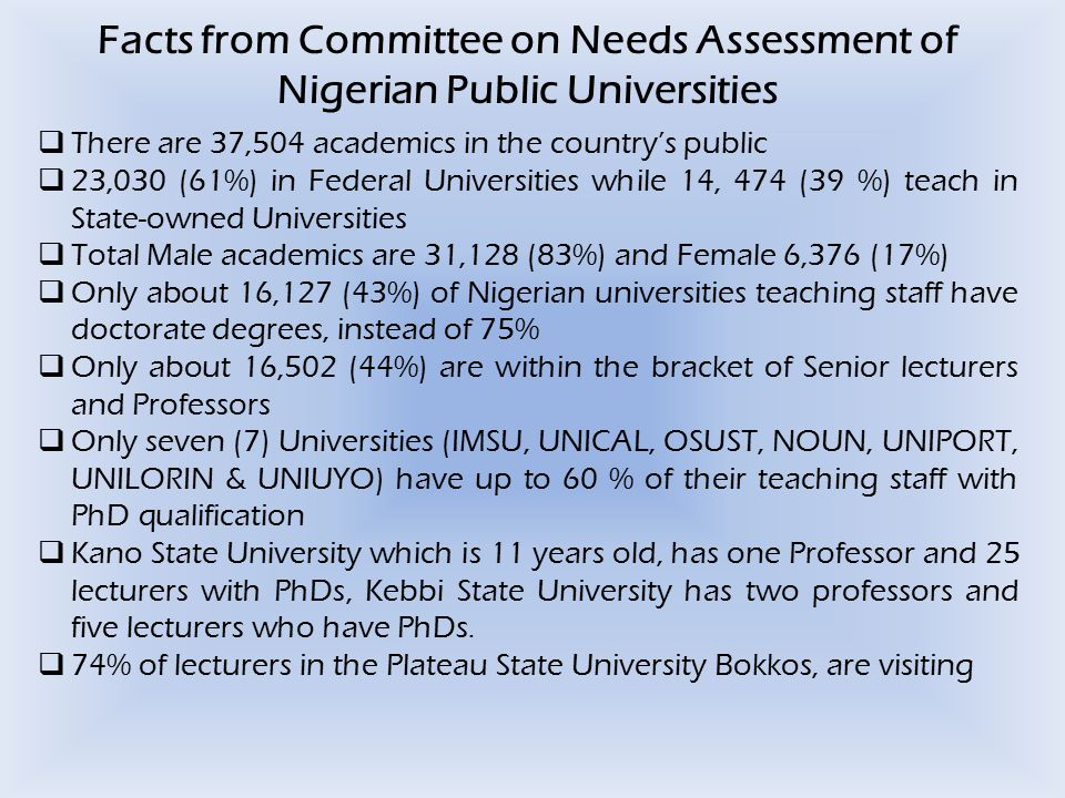 Facts from Committee on Needs Assessment of Nigerian Public Universities  There are 37,504 academics in the country's public  23,030 (61%) in Federa