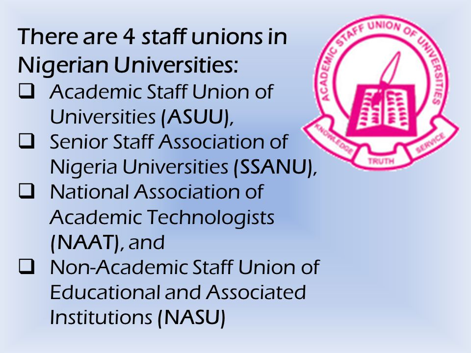  In 1980, ASSU embarked on an initial industrial action arising from the need to resist the termination of the appointment of six lecturers from University of Lagos, as a result of the report of Justice Belonwu Visitation Panel Report linked to university autonomy and academic freedom.