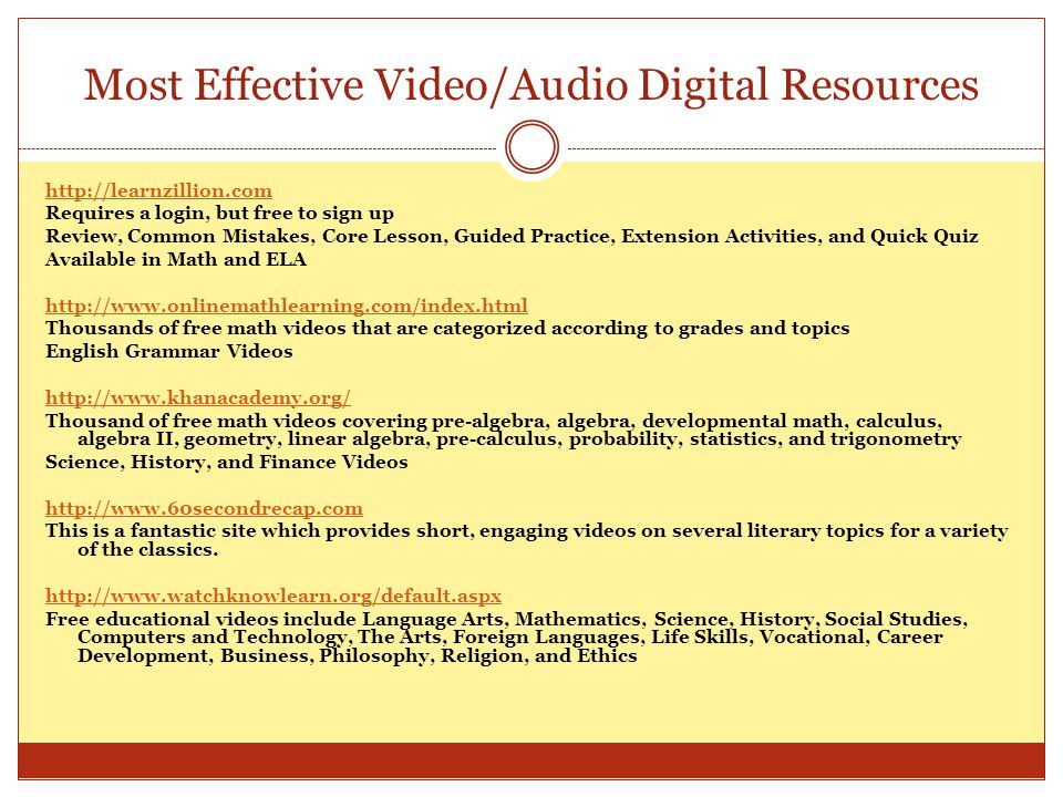 Most Effective Video/Audio Digital Resources http://learnzillion.com Requires a login, but free to sign up Review, Common Mistakes, Core Lesson, Guide