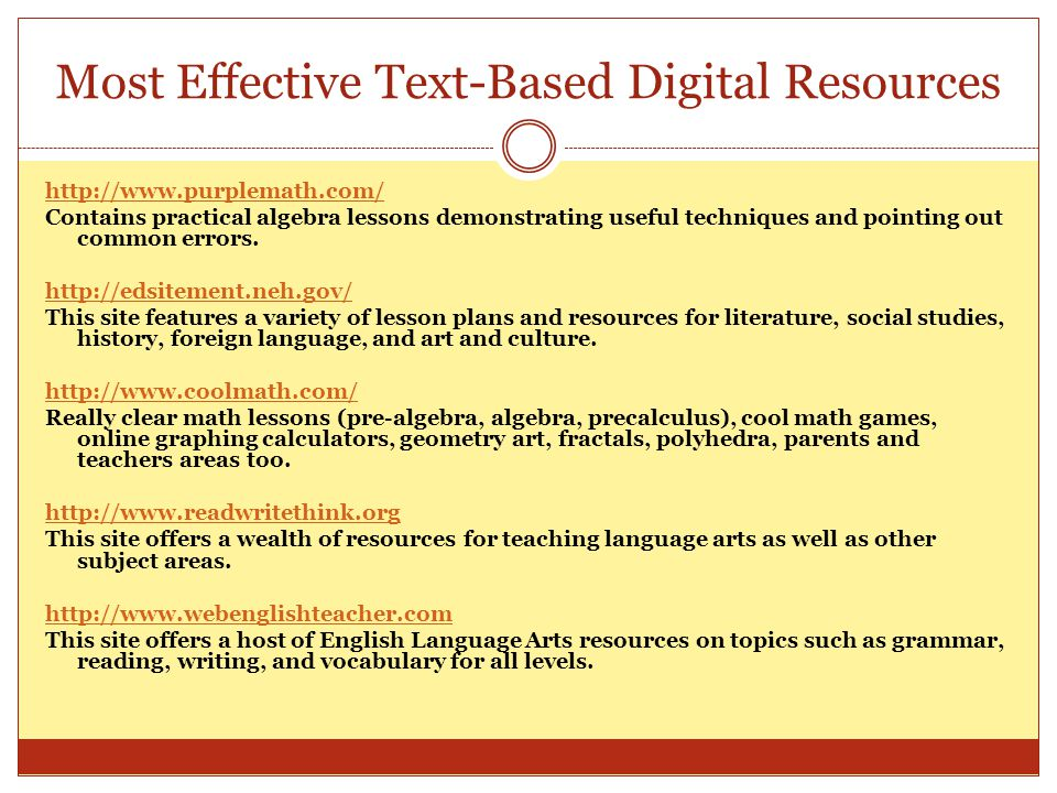 Most Effective Text-Based Digital Resources http://www.purplemath.com/ Contains practical algebra lessons demonstrating useful techniques and pointing
