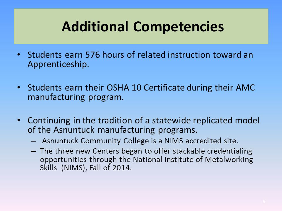 Additional Competencies Students earn 576 hours of related instruction toward an Apprenticeship.