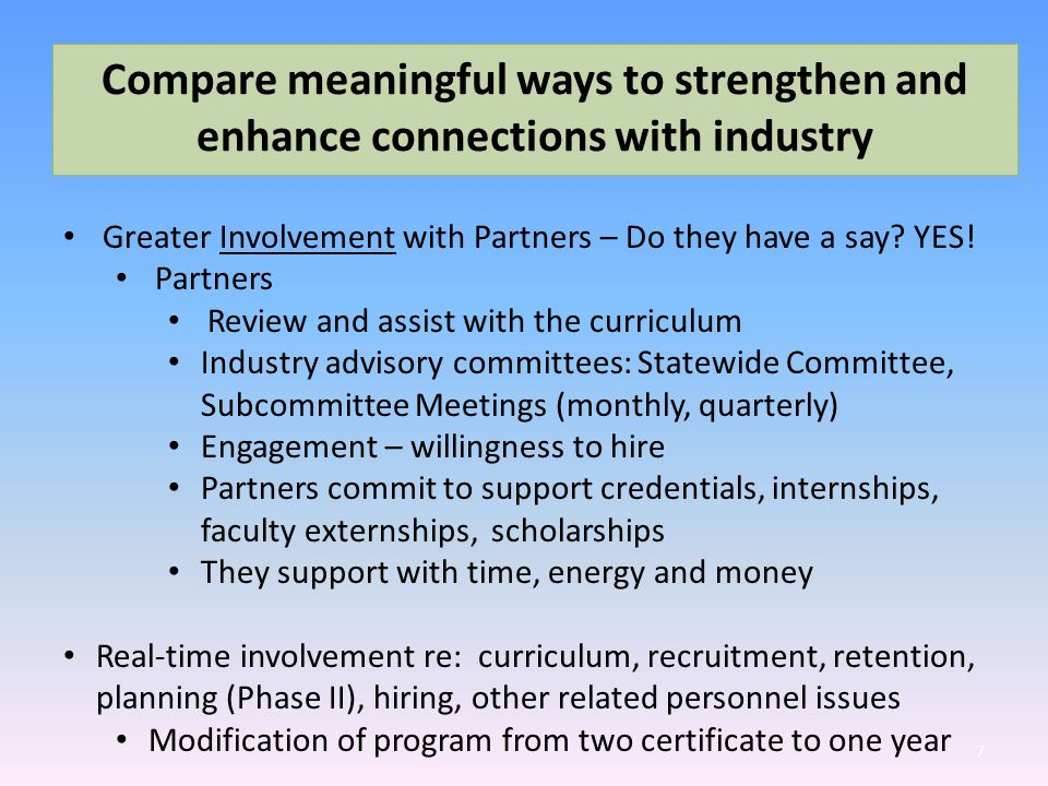 Compare meaningful ways to strengthen and enhance connections with industry 7 Greater Involvement with Partners – Do they have a say.