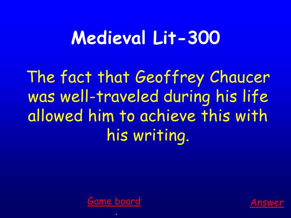 Medieval Lit-200 Answer.