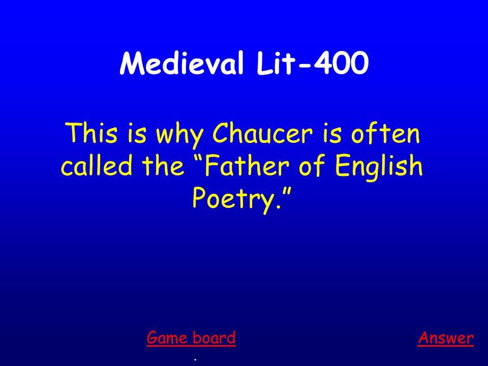 Medieval Lit-300 Answer.