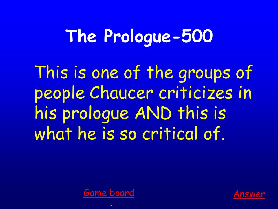 The Prologue-400 Answer.