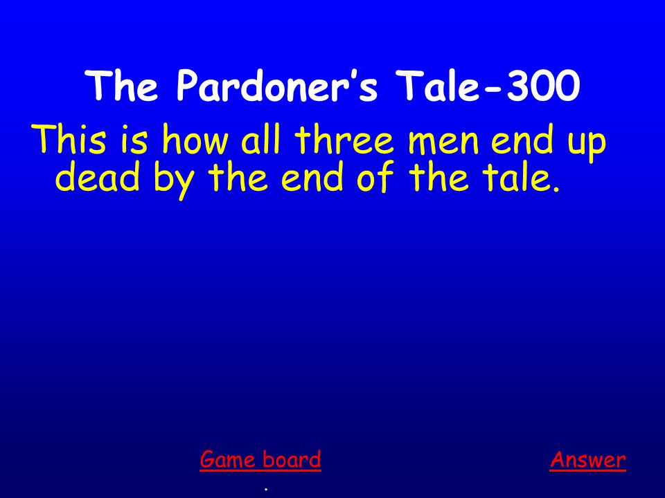 The Pardoner's Tale-200 Answer. Game board This is what prompts the men to begin plotting against one another.