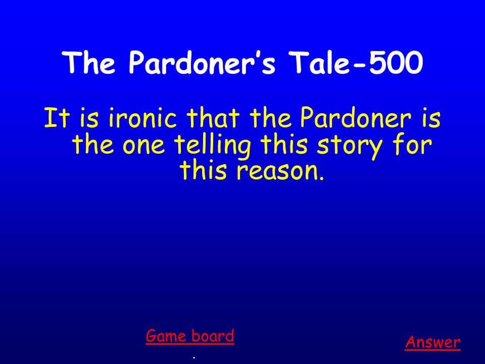 The Pardoner's Tale-400 This is how the advice Neither a borrower nor a lender be (from Hamlet) is somewhat relevant to the lesson in The Pardoner's Tale. Answer.