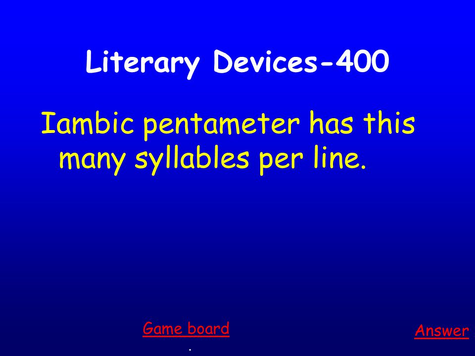 Literary Devices-300 Answer. Game board This term given to any situation in literature or drama when the reader knows more than one of the characters