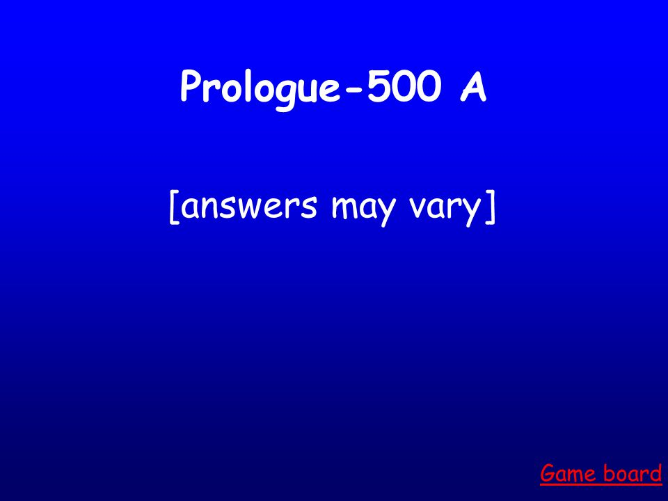 Prologue-400 A Who is St. Thomas a Becket OR the Archbishop of Canterbury. Game board
