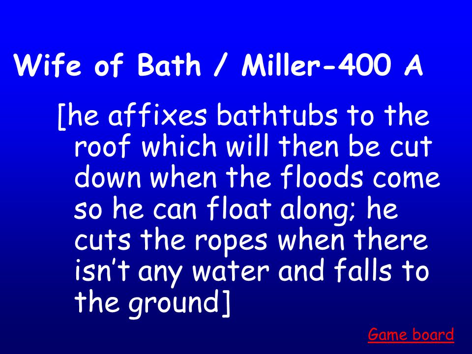 Wife of Bath / Miller-300 A What is because the knight gave her control? Game board