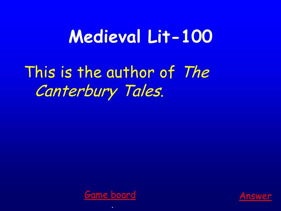 100 200 300 400 500 100 200 300 400 500 400 300 200 100 200 300 400 500 100 200 300 400 500 Medieval Literature Pardoner's Tale Wife of Bath & Miller