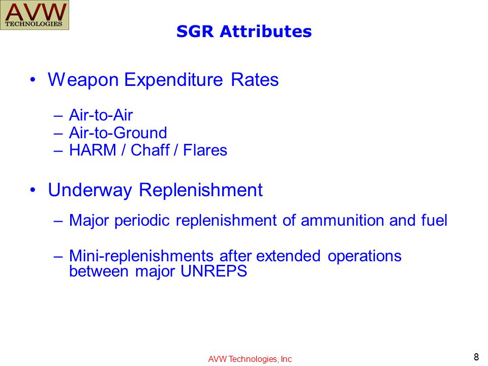 AVW Technologies, Inc SGR Attributes Weapon Expenditure Rates –Air-to-Air –Air-to-Ground –HARM / Chaff / Flares Underway Replenishment –Major periodic