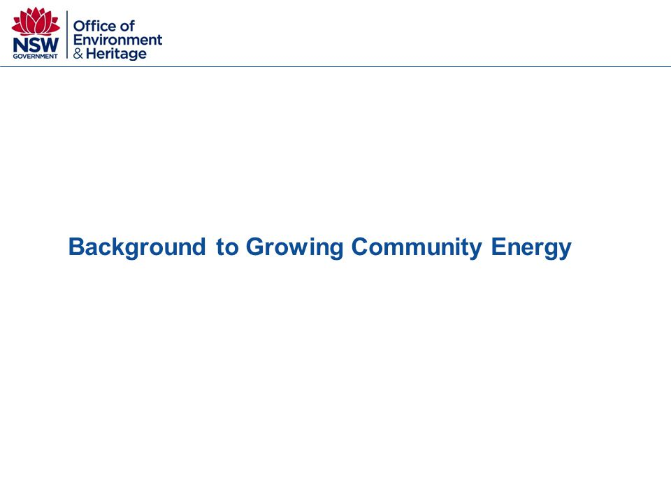 Background to Growing Community Energy