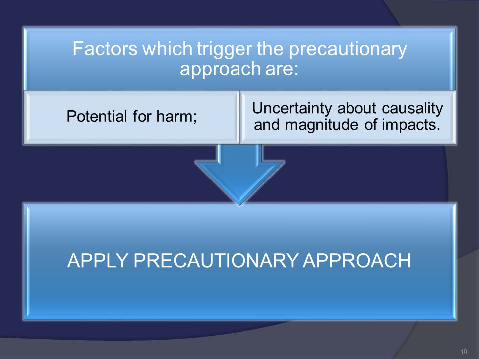 APPLY PRECAUTIONARY APPROACH Factors which trigger the precautionary approach are: Potential for harm; Uncertainty about causality and magnitude of impacts.