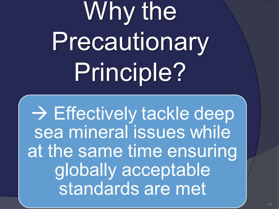 Why the Precautionary Principle.