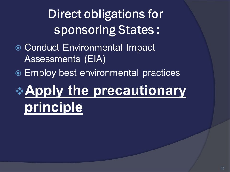 Direct obligations for sponsoring States :  Conduct Environmental Impact Assessments (EIA)  Employ best environmental practices  Apply the precautionary principle 14