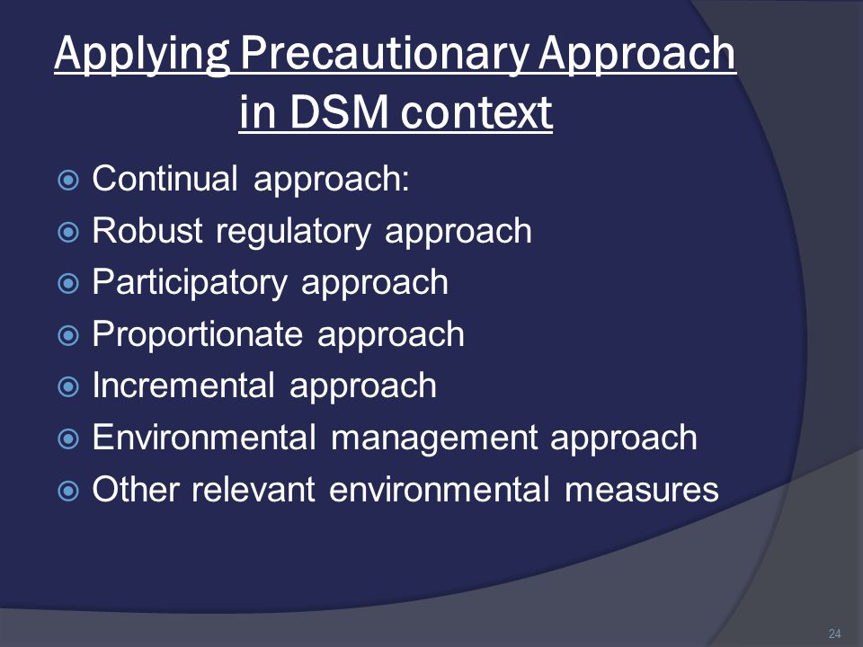 Applying Precautionary Approach in DSM context  Continual approach:  Robust regulatory approach  Participatory approach  Proportionate approach  Incremental approach  Environmental management approach  Other relevant environmental measures 24