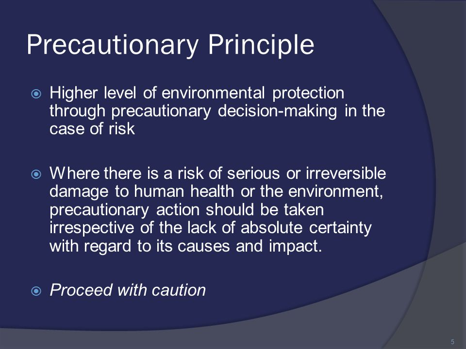 Precautionary Principle  Higher level of environmental protection through precautionary decision-making in the case of risk  Where there is a risk of serious or irreversible damage to human health or the environment, precautionary action should be taken irrespective of the lack of absolute certainty with regard to its causes and impact.