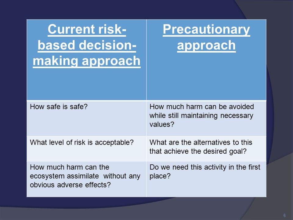 Burden of proof Safe until proven dangerous Protect the environment 7