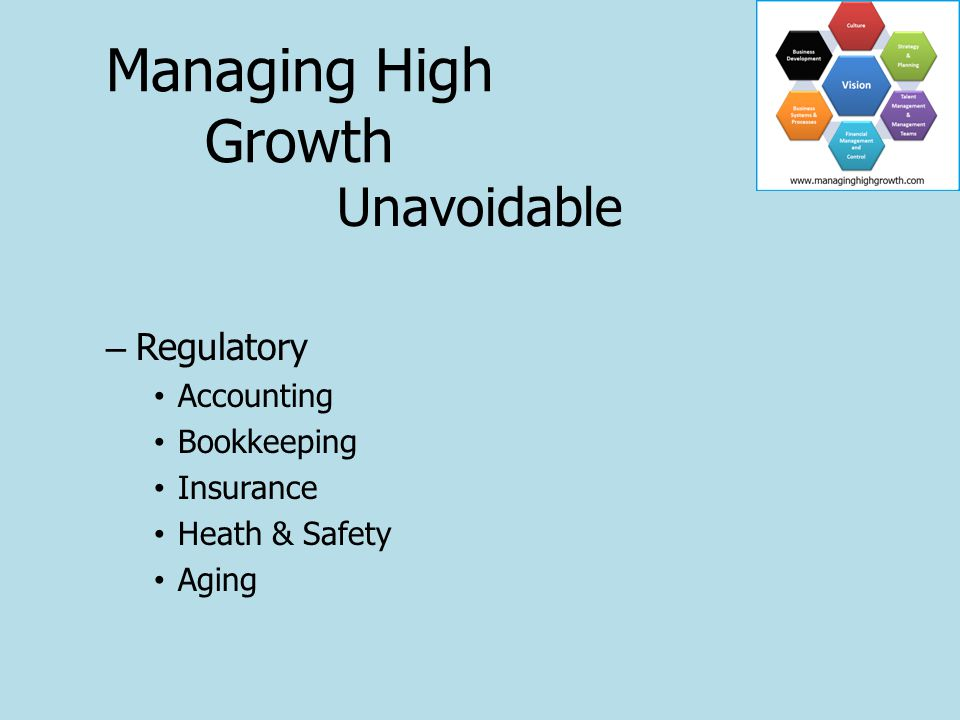 Unavoidable – Regulatory Accounting Bookkeeping Insurance Heath & Safety Aging Managing High Growth