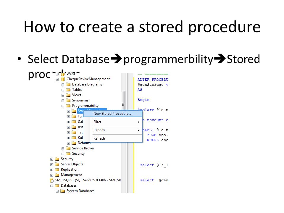 How to create a stored procedure Select Database  programmerbility  Stored procedure