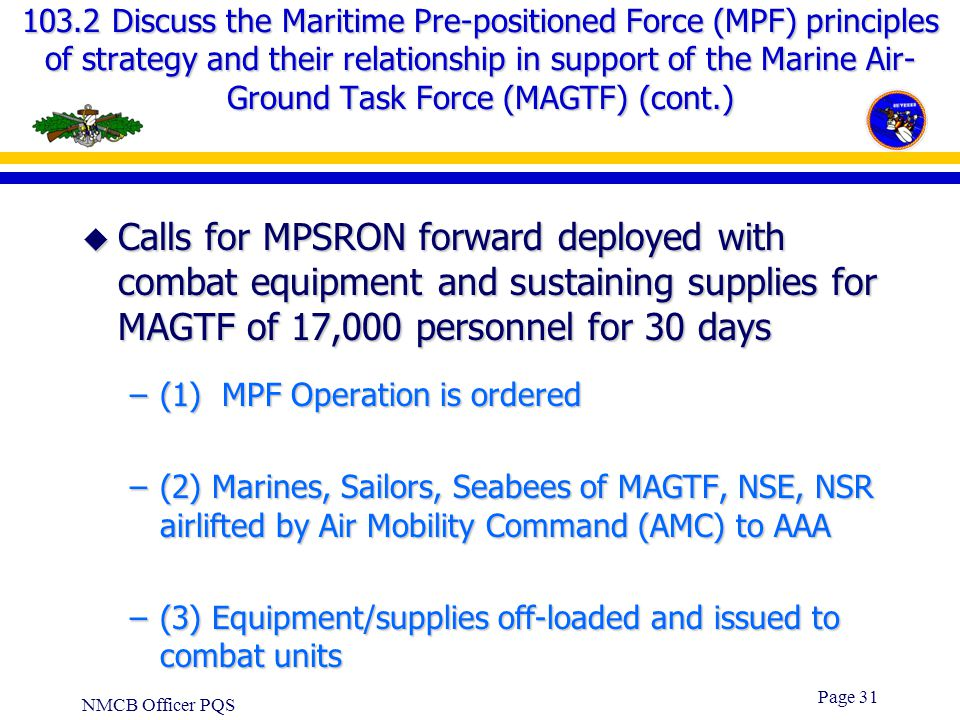 NMCB Officer PQS Page 30 103.2 Discuss the Maritime Pre-positioned Force (MFP) principles of strategy and their relationship in support of the Marine