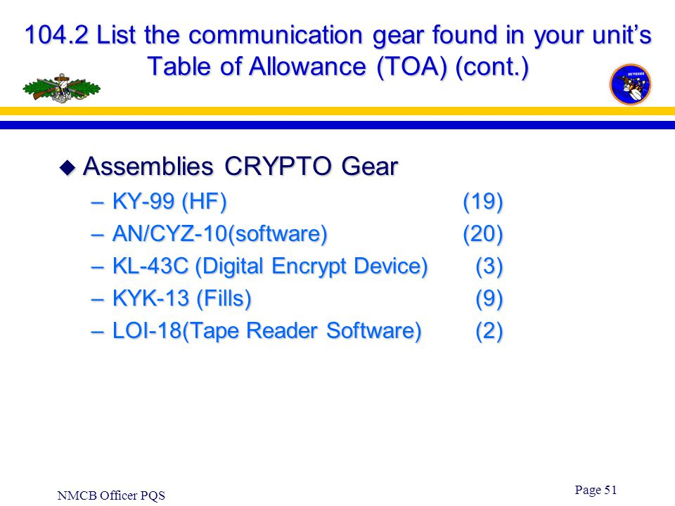 NMCB Officer PQS Page 50 104.2 List the communication gear found in your unit's Table of Allowance (TOA) (cont.)  Assemblies - HF Radios(Long Range)