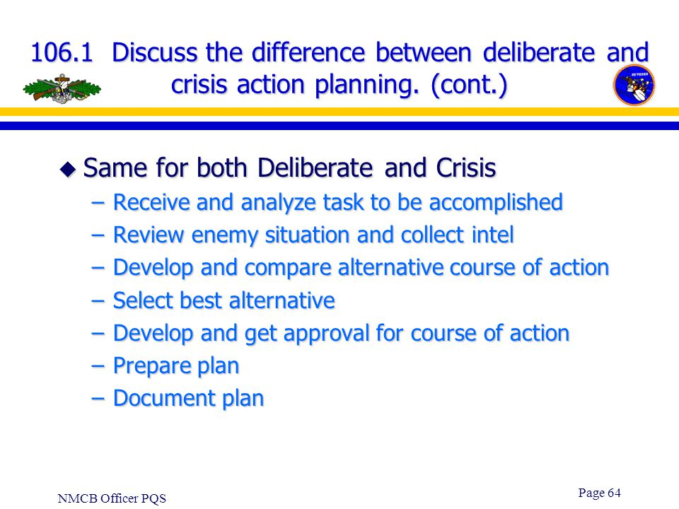 NMCB Officer PQS Page 63 106.1 Discuss the difference between deliberate and crisis action planning. u Deliberate –Long term planning in support of CI