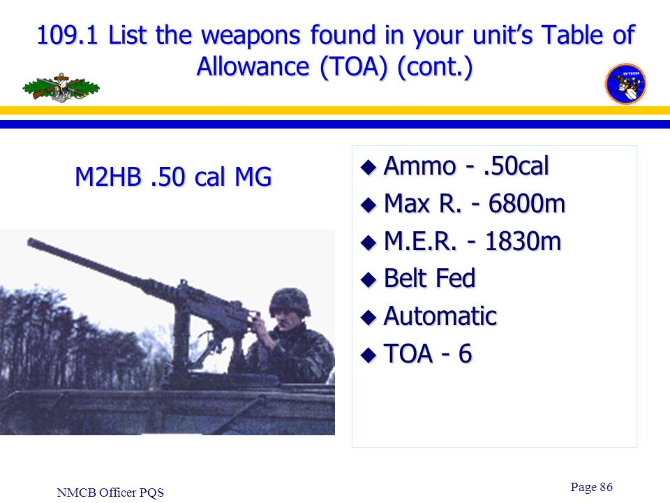NMCB Officer PQS Page 85 109.1 List the weapons found in your unit's Table of Allowance (TOA) (cont..) u Ammo - 5.56mm u Max R. - 3534m u M.E.R. –Poin