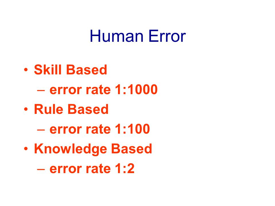Human Error Skill Based – error rate 1:1000 Rule Based – error rate 1:100 Knowledge Based – error rate 1:2