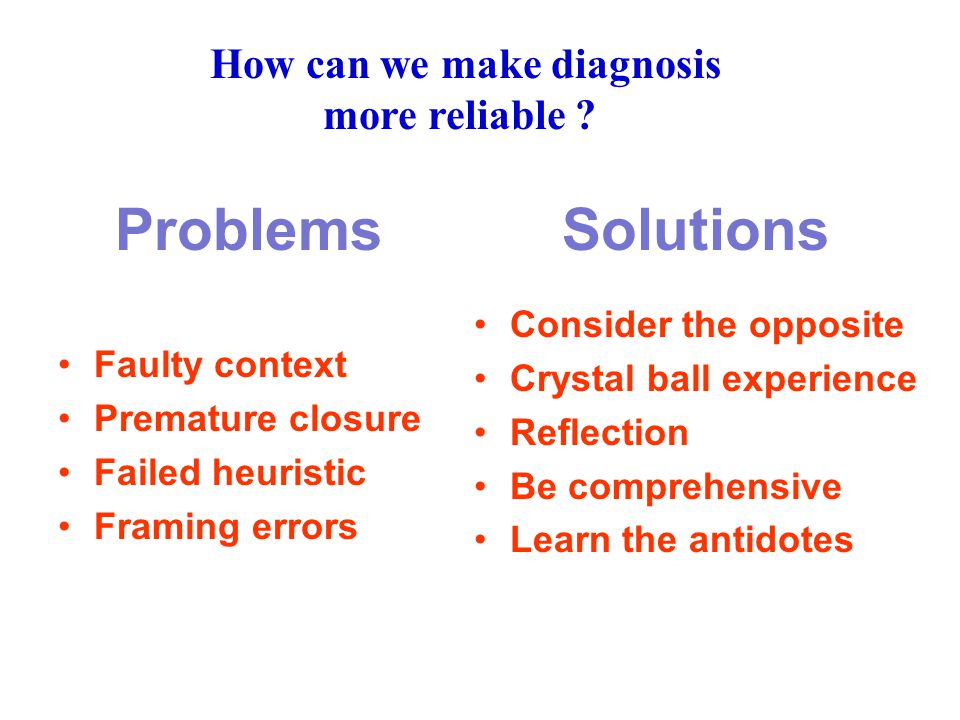 Problems Solutions Faulty context Premature closure Failed heuristic Framing errors Consider the opposite Crystal ball experience Reflection Be comprehensive Learn the antidotes How can we make diagnosis more reliable