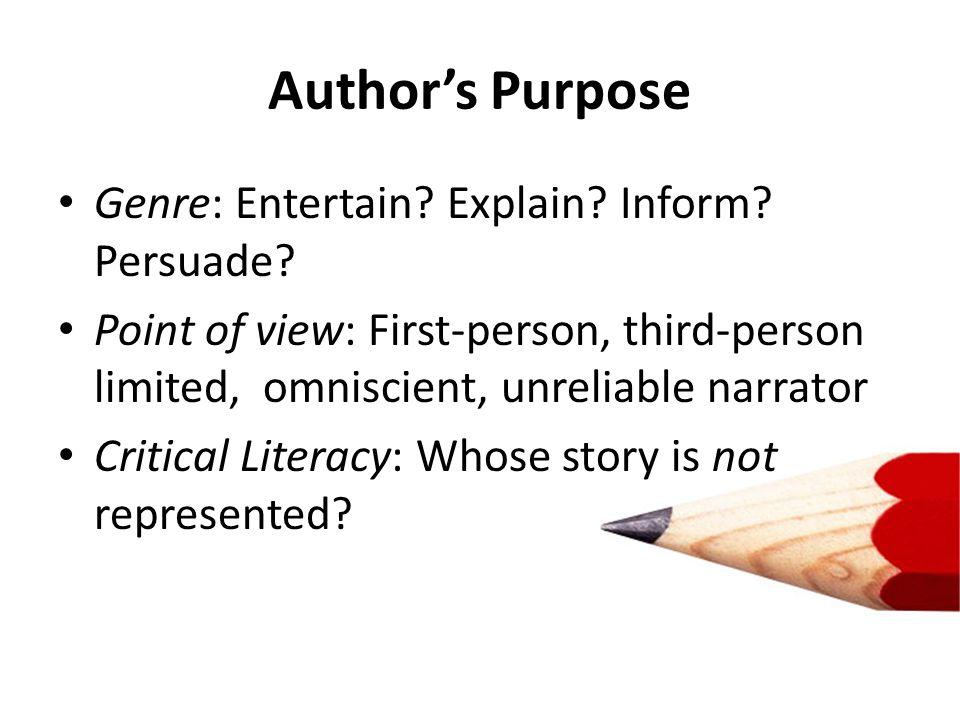 Genre: Entertain. Explain. Inform. Persuade.