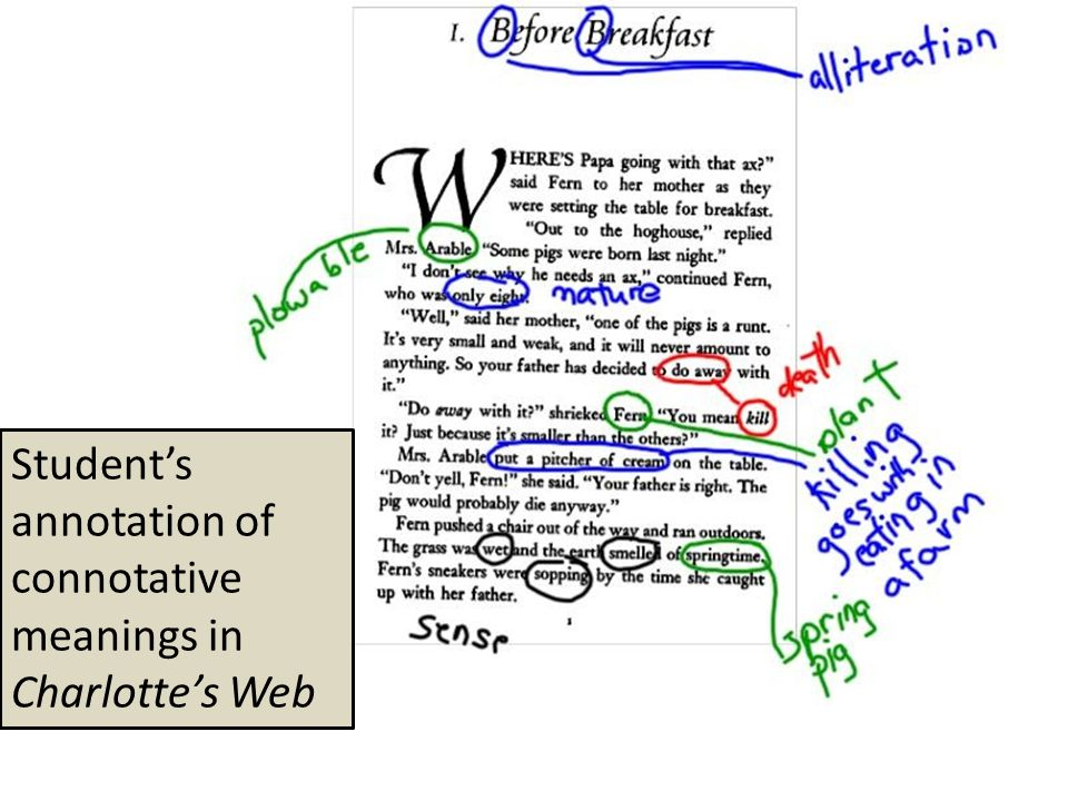 Student's annotation of connotative meanings in Charlotte's Web