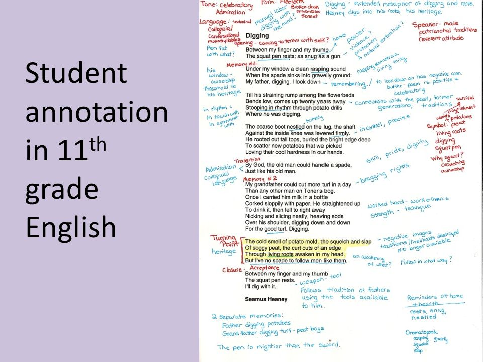 Student annotation in 11 th grade English