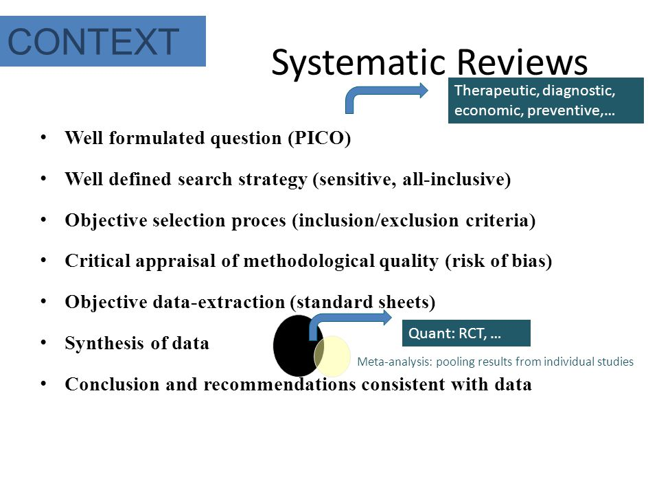 Systematic Reviews Well formulated question (PICO) Well defined search strategy (sensitive, all-inclusive) Objective selection proces (inclusion/exclu