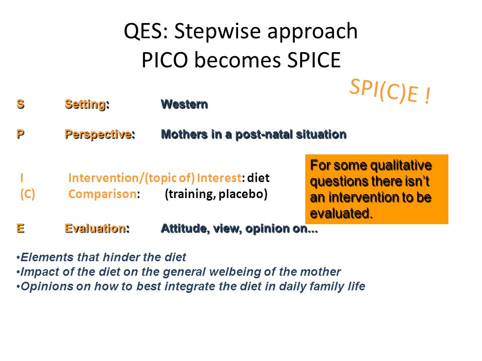 QES: Stepwise approach PICO becomes SPICE IIntervention/(topic of) Interest: diet (C)Comparison:(training, placebo) EEvaluation:Attitude, view, opinion on...
