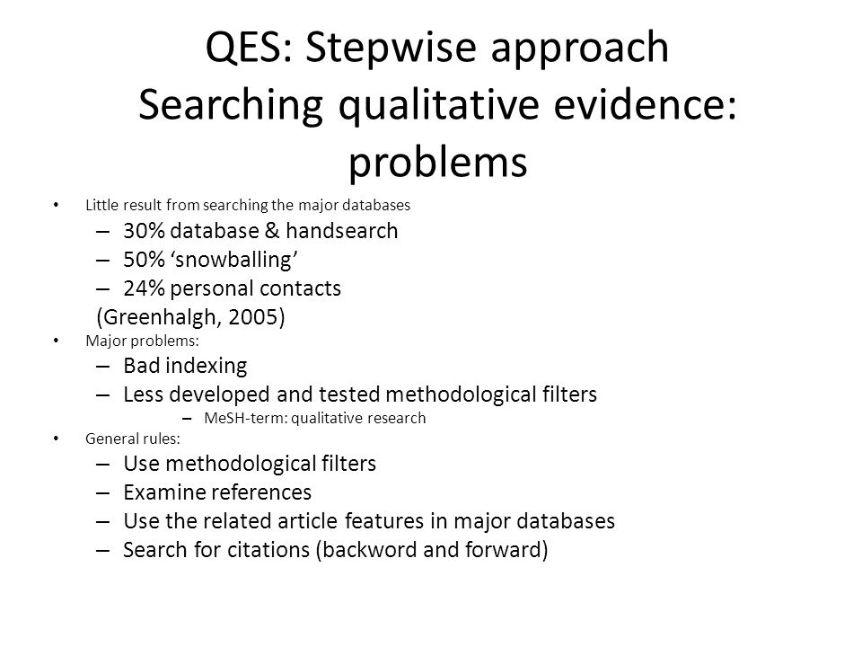 QES: Stepwise approach Searching qualitative evidence: problems Little result from searching the major databases – 30% database & handsearch – 50% 'sn