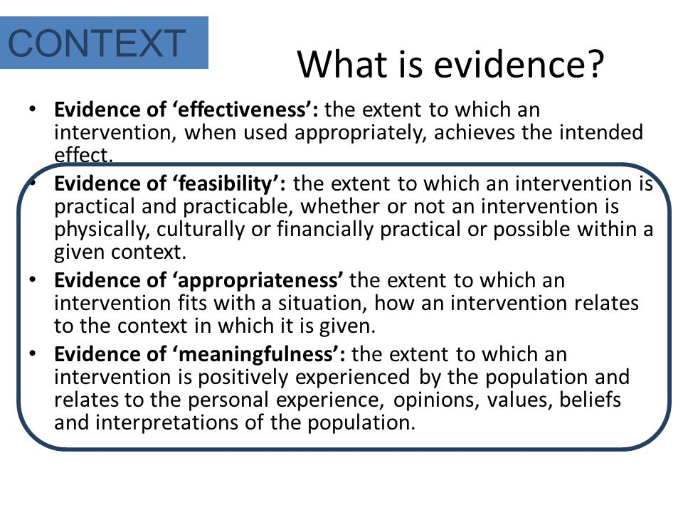 What is evidence.