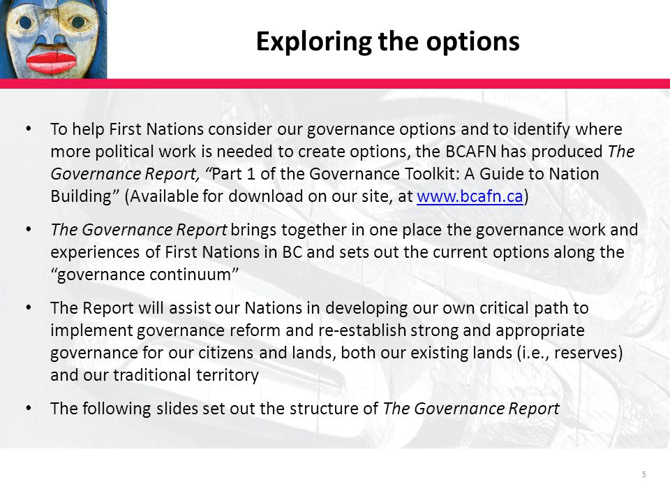 5 Exploring the options To help First Nations consider our governance options and to identify where more political work is needed to create options, the BCAFN has produced The Governance Report, Part 1 of the Governance Toolkit: A Guide to Nation Building (Available for download on our site, at www.bcafn.ca)www.bcafn.ca The Governance Report brings together in one place the governance work and experiences of First Nations in BC and sets out the current options along the governance continuum The Report will assist our Nations in developing our own critical path to implement governance reform and re-establish strong and appropriate governance for our citizens and lands, both our existing lands (i.e., reserves) and our traditional territory The following slides set out the structure of The Governance Report