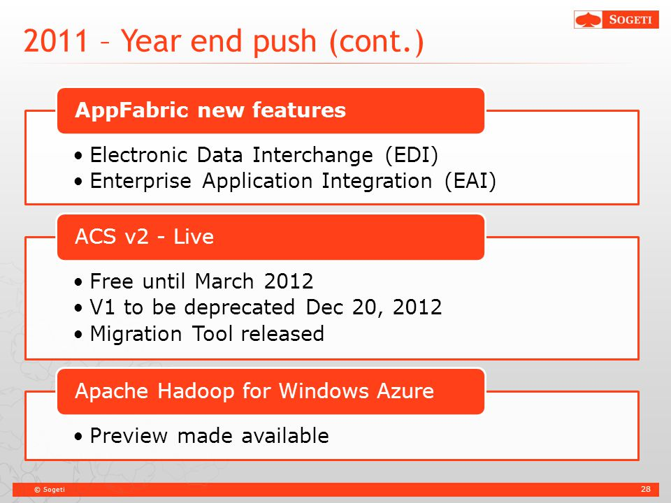 © Sogeti 2011 – Year end push (cont.) 28 Electronic Data Interchange (EDI) Enterprise Application Integration (EAI) AppFabric new features Free until