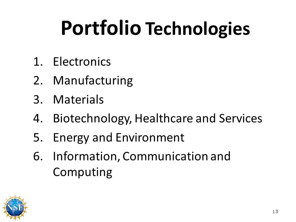 Portfolio Technologies 1.Electronics 2.Manufacturing 3.Materials 4.Biotechnology, Healthcare and Services 5.Energy and Environment 6.Information, Communication and Computing 13