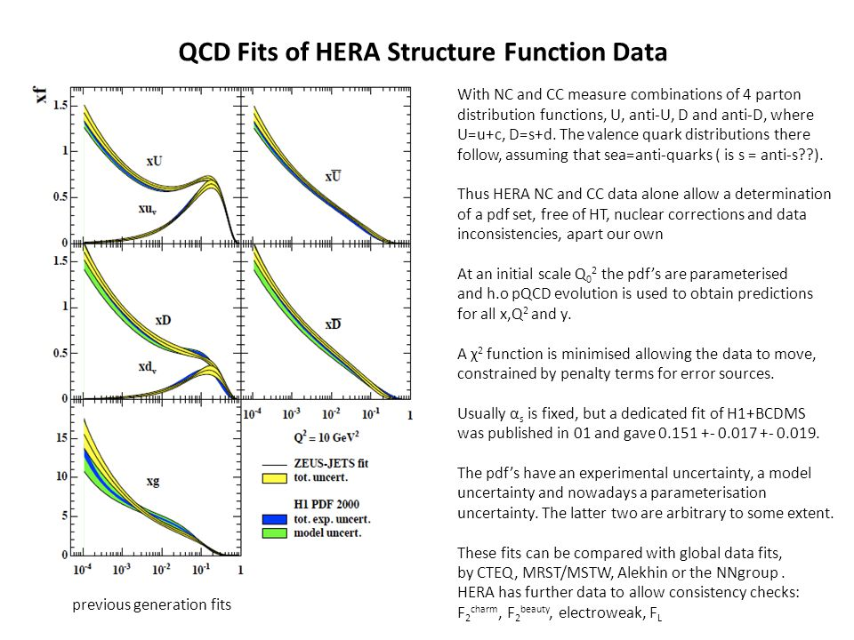 QCD Fits of HERA Structure Function Data With NC and CC measure combinations of 4 parton distribution functions, U, anti-U, D and anti-D, where U=u+c,