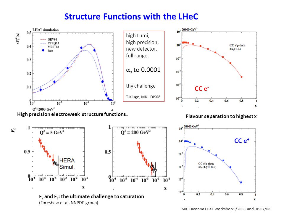 Structure Functions with the LHeC High precision electroweak structure functions. Flavour separation to highest x F 2 and F L : the ultimate challenge