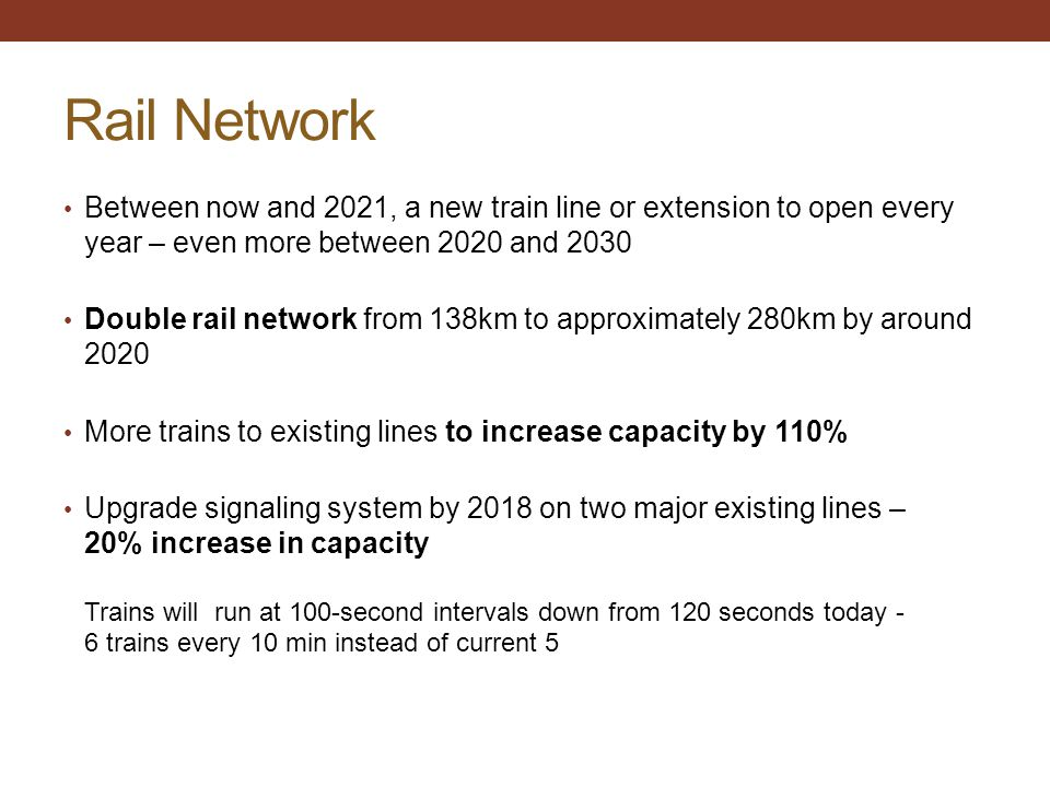 Rail Network Between now and 2021, a new train line or extension to open every year – even more between 2020 and 2030 Double rail network from 138km t