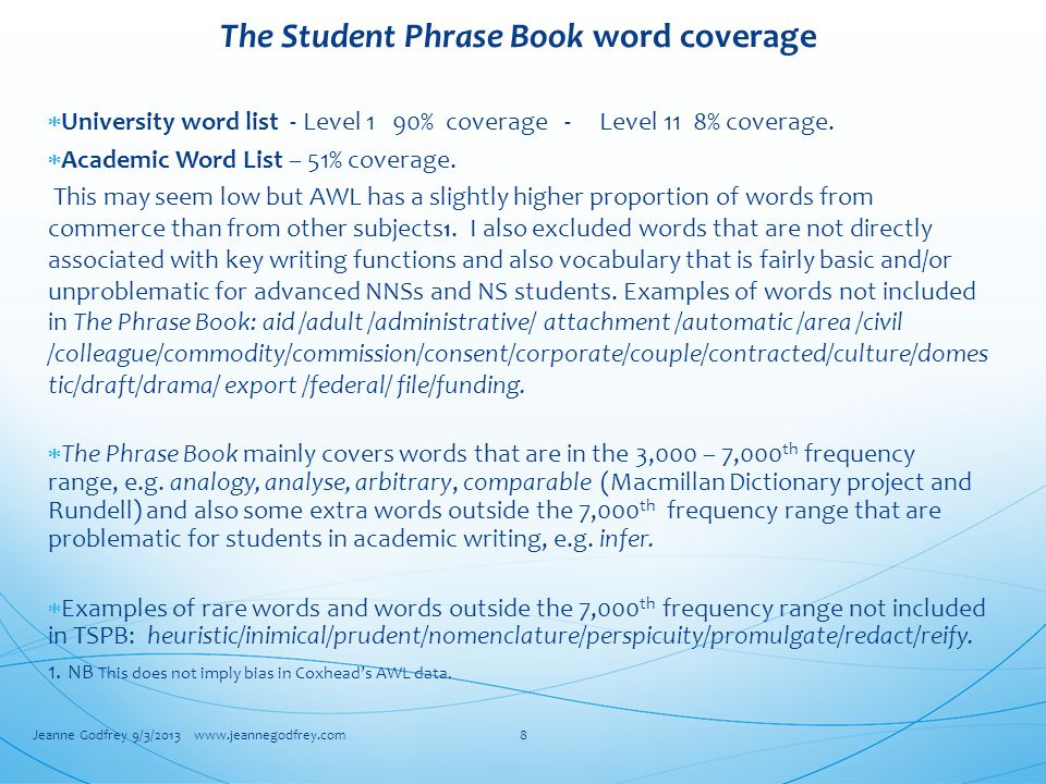 The Student Phrase Book word coverage  University word list - Level 1 90% coverage - Level 11 8% coverage.
