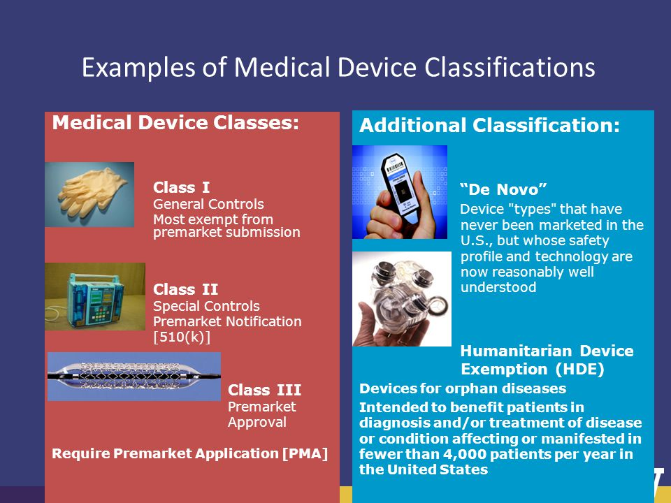 Brown Bag Series on Research Faculty Examples of Medical Device Classifications Medical Device Classes: Class I General Controls Most exempt from prem