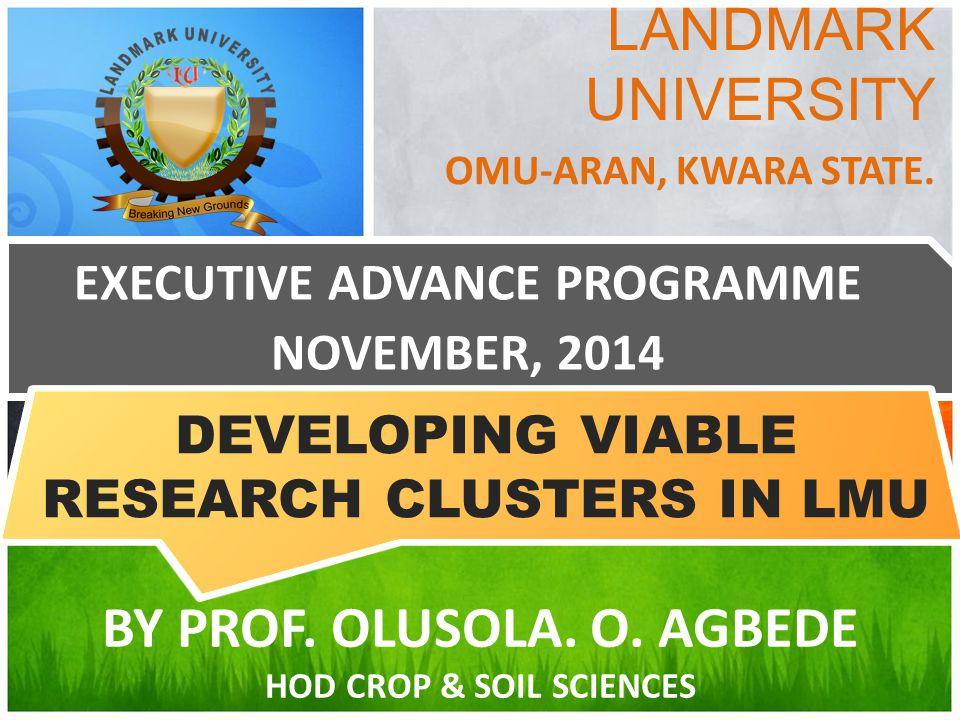 LANDMARK UNIVERSITY OMU-ARAN, KWARA STATE. EXECUTIVE ADVANCE PROGRAMME NOVEMBER, 2014 BY PROF. OLUSOLA. O. AGBEDE HOD CROP & SOIL SCIENCES DEVELOPING